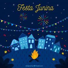 Fundo Festa junina com cidade e fogos de artifício