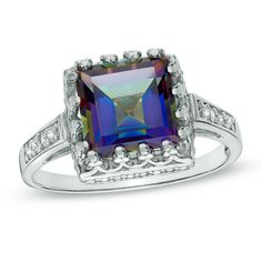 8.0mm Princess-Cut Rainbow Blue Quartz and White Topaz Crown Ring in Sterling Silver - Zales $59