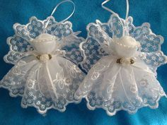 White lace angels handmade tree ornament decoration gift by AudreysAngels on Etsy Need great tips concerning crafts? Go to my amazing website! Diy Christmas Angel Ornaments, Christmas Angels, Christmas Crafts, Christmas Decorations, Birthday Decorations, Angel Crafts, Christmas Projects, Holiday Crafts, July Crafts