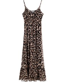 Leopard Chiffon Maxi Dress with Slim Straps