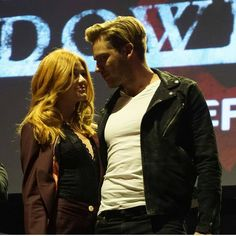 Shadowhunters ... Katherine McNamara and Dominic Sherwood as Clary and Jace