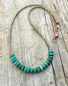 Turquoise Necklace, Turquoise with Bronze Beaded Jewelry by RusticaJewelry on Etsy https://www.etsy.com/uk/listing/259657765/turquoise-necklace-turquoise-with-bronze