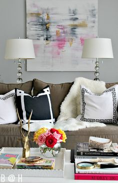 bliss at home living room - links to blogger stylin home tours