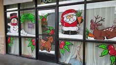 Windows at local photo studio Christmas Windows, Christmas Door, Window Paint, Window Decorating, Display Windows, Window Ideas, Photo Studio, Paintings, Artwork