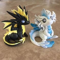 This weeks theme is the elements, so I'm making elemental dragons. Here you see Air and Lightning! I have wanted to do elementals forever so I'm having a blast making these guys! Polymer Clay Dragon, Polymer Clay Kawaii, Polymer Clay Figures, Polymer Clay Animals, Polymer Clay Miniatures, Polymer Clay Charms, Polymer Clay Creations, Polymer Clay Art, Resin Art