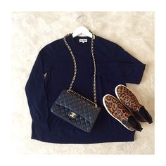 Soft Goat o-neck sweater in navy, leo shoes and chanel
