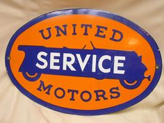 "United Service Motors Enameled Sign16 1/2"" X 11"" #UnitedMotors"