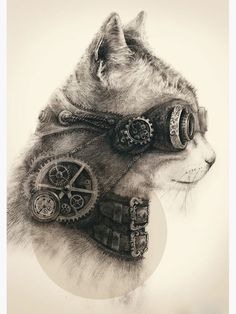 Steampunk art is often filled with clockwork elements, mostly depicted in yellow metals such as brass. Steampunk tattoos are very rare, and . Tatoo Steampunk, Steampunk Kunst, Chat Steampunk, Steampunk Drawing, Steampunk Artwork, Steampunk Fashion, Steampunk Wallpaper, Steampunk Necklace, Steampunk Images