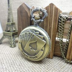 """This is nice, check it out!   Hot sale Classic Steampunk  Quartz Vintage style"""" Chinese Poker """" patterned Ancient bronze Pendant Chain Pocket Watch - US $6.58 http://jewelrywatcheszone.com/products/hot-sale-classic-steampunk-quartz-vintage-style-chinese-poker-patterned-ancient-bronze-pendant-chain-pocket-watch/"""