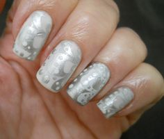 Challenge Day 8, Metallic. SH Insta-Dry Silver Sweep over Essie Marshmallow. Bundle Monster plate 320.