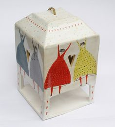 ceramic birdhouse, handmade, with flying girls, polka dot and hearts - marta turowska