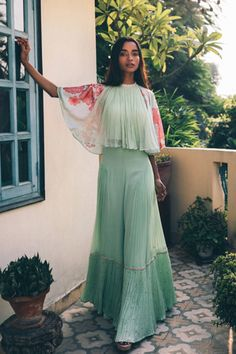 Mallie 02 - Price on Request Mint green indo western Indian Wedding Outfits, Indian Outfits, Pakistani Outfits, Indian Clothes, Indian Designer Outfits, Designer Dresses, Indian Fashion Trends, Dress Indian Style, Indian Western Dress
