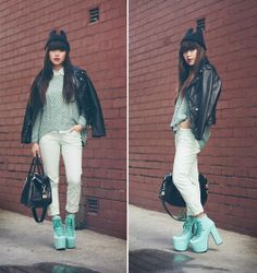 Kitty Beanie, Biker Leather Jacket, Mint Weaved Knit Sweater, Mint Button Up Collared Shirt, Mint Pants, Unif Mint/Teal Hellbound Platforms