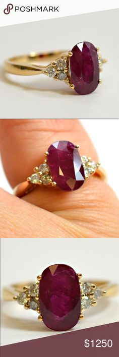 Natural Ruby Ring size 6.5 July birthday gemstone! Natural ruby ring- Large 2.42 carat, 14K gold. Diamond accents 0.25cctw. Size 6.5/7. The large oval ruby measures approximately 10.5mm x 6.5mm. Deep ruby color, beautiful inflections. Jewelry #rings #diamondringsjewelry