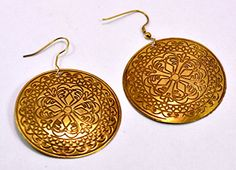 A Pair of Indian Hand Carved Brass Metal Traditional Boho Hippie Earrings Aife_721 Krishna Mart India http://www.amazon.com/dp/B00MIZWN3W/ref=cm_sw_r_pi_dp_RkqJvb0T1A75C