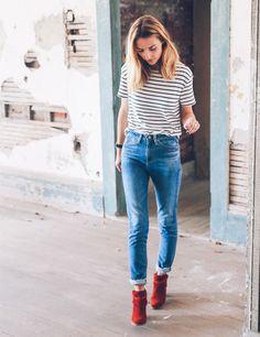look calça jeans t-shirt listras