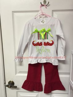 Toddlers & Girls Christmas outfit Customized Elf feet and socks appliqué with Bows Ruffle Shirt and corduroy ruffle pants FREE Name/Monogram by UniqueMemoriesLeAnn on Etsy