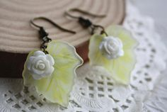 summer Woodland Rose & leaf earrings summer forsty romance by missvirgouk, $5.50. handmade jewellery accessory