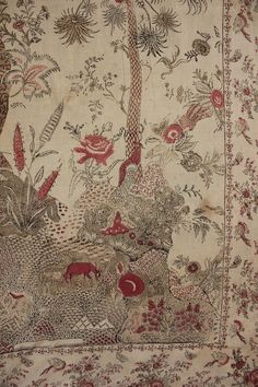 Antique Italian printed chintz bed cover hanging / mezzara mezzaro early 1800's