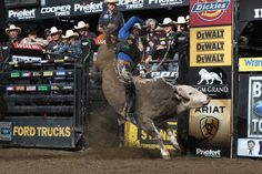 Ryan Dirteater attempts to ride Robinson's BigTexTrailers.com during the first round of the Uncasville Built Ford Tough series PBR. Photo by Andy Watson with BullStockMedia.com