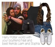 """""""REQUESTED: Harry Potter world with your boyfriend Niall and best friends Liam and Sophia"""" by style-with-one-direction ❤ liked on Polyvore featuring Boohoo, Converse, Red Herring, Ray-Ban, OneDirection, LiamPayne, 1d, NiallHoran, sophiasmith and liam payne niall horan sophia smith 1d one direction"""