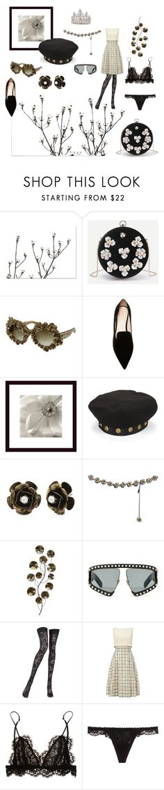 """""""Queen of flowers🌸"""" by lillysinclair ❤ liked on Polyvore featuring A-Morir by Kerin Rose, Nicholas Kirkwood, Eric Javits, Betsey Johnson, Dolce&Gabbana, Gucci, Pierre Mantoux, Phase Eight, Isabel Marant and La Perla"""