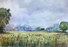 Italian countryside, Umbria region, watercolor painting by Giulia Gatti Watercolor And Ink, Watercolor Paintings, Watercolors, Countryside, Landscape, Gallery, Drawings, Artist, Water Colors