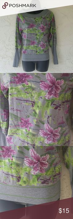 Long Sleeve Floral Shirt Size Small Gray Cotton Floral with beautiful purple and green flowers on a grey backdrop elastic waist and forearm. Long sleeve Peppe Peluso  Tops Tees - Long Sleeve