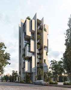 Gallery of A Vertical Neighborhood in Tehran and a Zero Emission House on the Beach: 9 Unbuilt Projects Submitted by our Readers - 13 Residential Building Design, Architecture Building Design, Hotel Architecture, Modern Architecture House, Facade Design, Concept Architecture, Modern Buildings, Residential Architecture, Architecture Details