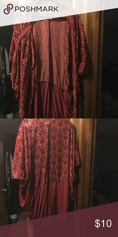 Maroon flocked kimono Repost. New never worn maroon flocked kimono. It's around knee length and a cocoon style. Nothing wrong with it, it's just not my style. SWAK Other