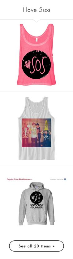 """""""I love 5sos"""" by weiredemochick02 ❤ liked on Polyvore featuring tops, shirts, tank tops, 5sos, blusas, neon shirt, neon tank tops, pink shirt, neon crop top and pink tank"""