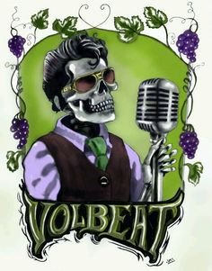 Even in a genre with as many divisions and sub-divisions as modern rock music, it's difficult to know where to put Volbeat. Their origins as a band lie in the Scandinavian death metal scene, but, t. Rockabilly, Volbeat, Different Kinds Of Art, Rockn Roll, Music Film, Psychobilly, Death Metal, Skull Art, My Favorite Music