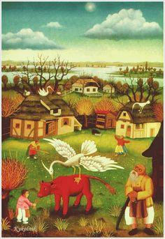 Ivan Generaliс (Croatian, 1914-1992) «White stork» 1970