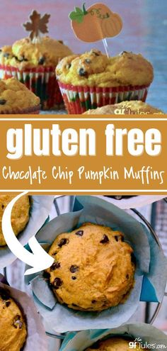 Chocolate Chips and Pumpkin taste great together in this Gluten Free Chocolate Chip Pumpkin Muffin recipe. The perfect fall combination of flavors all mixed in one. They're slightly sweet (sweeter if you add the chocolate chips, of course!), totally moist, and full of yummy fall flavor. Bake a lot; you're going to want seconds. 6 reviews · 40 minutes · Serves 12 Gluten Free Bars, Easy Gluten Free Desserts, Gluten Free Donuts, Gluten Free Recipes For Breakfast, Gluten Free Pumpkin, Gluten Free Baking, Dairy Free Recipes, Pumpkin Chocolate Chip Muffins, Chocolate Chips