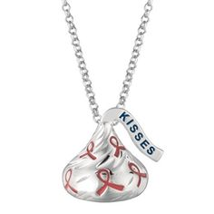 Medium Flat Back Hershey's Kiss Breast Cancer Pendant includes an 16 inches with 2 inch extension Rolo chain with Lobster claw.