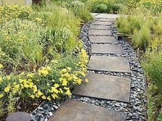 Ścieżka z płyt kamiennych wypełnionych żwirem w ogrodzie