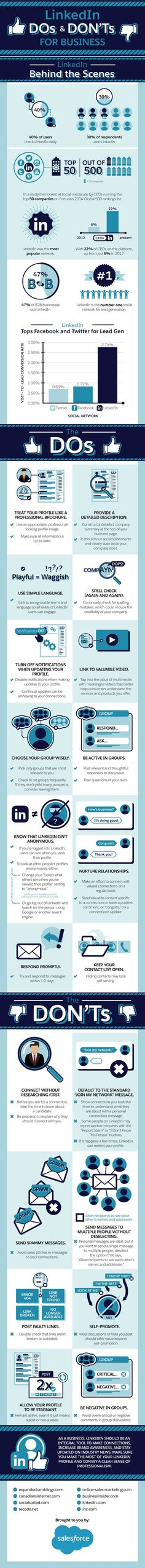 LinkedIn Dos and Don'ts for Business - infographic