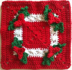 Holly Square Crochet Dishcloth - A festive Christmas crochet pattern.