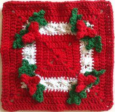 Holly Square Crochet Dishcloth - A festive Christmas crochet pattern.