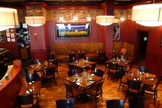 A bird's eye view of the dining room at Tastings.
