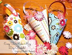 Cone-Shaped May Day baskets  — follow link to instructions and a template for these classic cone-shaped May Day baskets.. All you need is some pretty paper. There are all kinds of decorative papers that are printed on both sides. They would work perfectly for these simple, kid-friendly May Day baskets. #mayday #baskets #diy