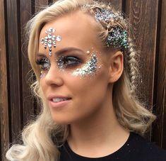 Silver glitter And Jewels Makeup #coachellamakeup #coachella #festivalmakeup