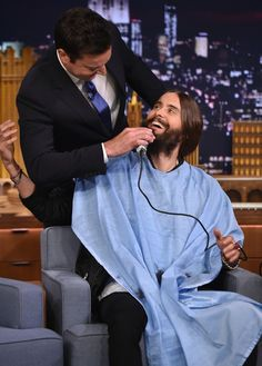 "He missed a spot. Jared Leto of Thirty Seconds To Mars receives a close shave from ""The Tonight Show Starring Jimmy Fallon"" host on Aug. 20 in New York"