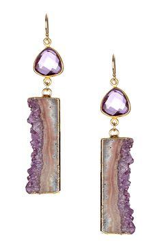 Amethyst Cascade & Hydroquartz Drop Earrings