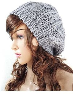$3, Grey Beanie: Fashion Winter Lady Beret Braided Baggy Beanie Crochet Knitting Hat Cap. Sold by Amazon.com. Click for more info: https://lookastic.com/women/shop_items/170129/redirect