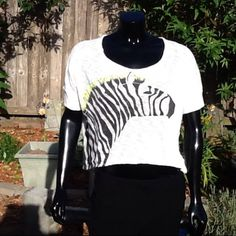 Hi low knit sweater top with a zebra on front Sz L This is a sweater  knit top. Has a zebra on the front. Size large . Round neck short sleeves. Has a high front and a low back. Super cute. Slightly see through. Sheer look. Cotton polyester blend Xhilaration Tops