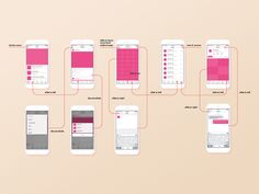 Work in  progress wireframes drawing (transition detail) for dribbble app contecp.