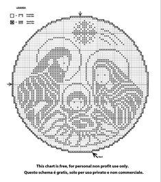 filet crochet presepe a crochet Crochet Angel Pattern, Crochet Square Patterns, Christmas Crochet Patterns, Crochet Blanket Patterns, Xmas Cross Stitch, Cross Stitch Charts, Cross Stitch Patterns, Crochet Lampshade, Fabric Christmas Trees