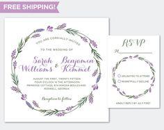 Outdoor Wedding Invitation RSVP Set  Lavender Spring Wedding by JoanneJoyceDesign Etsy
