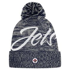 f90f735bb1aff Women s Winnipeg Jets adidas Navy - Cuffed Knit Hat with Pom
